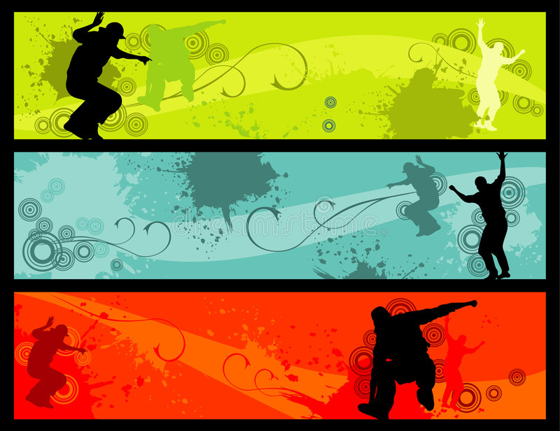 Fun people. Shapes over a colors background royalty free illustration
