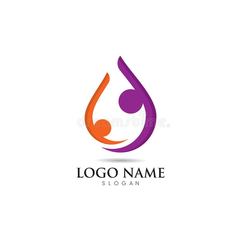 Fun people Healthy Life Logo template vector icon stock illustration
