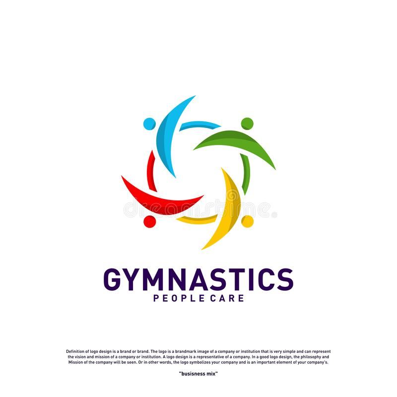 Fun People Healthy logo design concept vector.Gymnastics logo template. People care Icon Symbol vector illustration