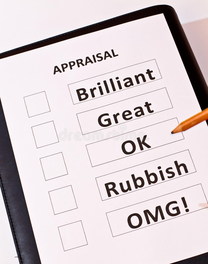 A fun performance appraisal form. Including the category `OMG` [Oh My God stock images