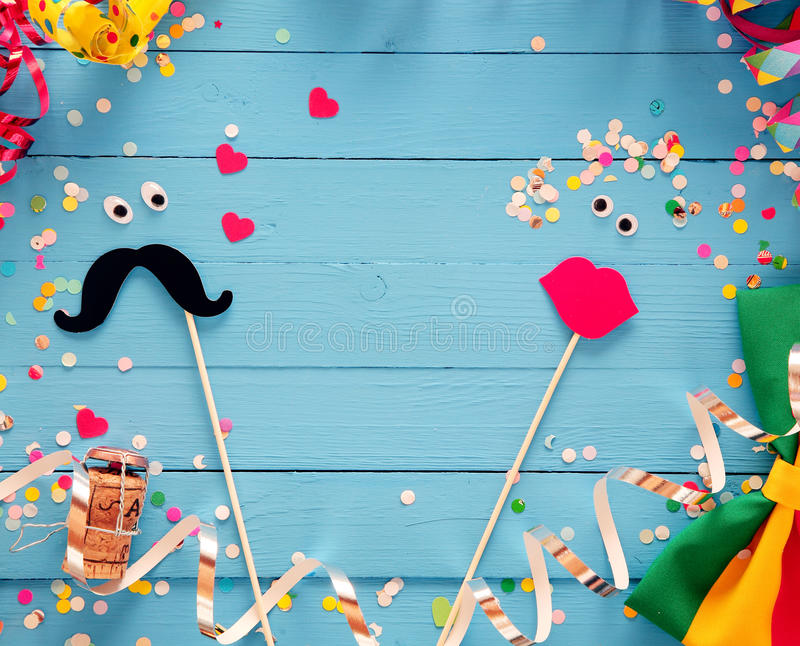 Fun Photo Booth Accessories Festive Background Stock Photo ...