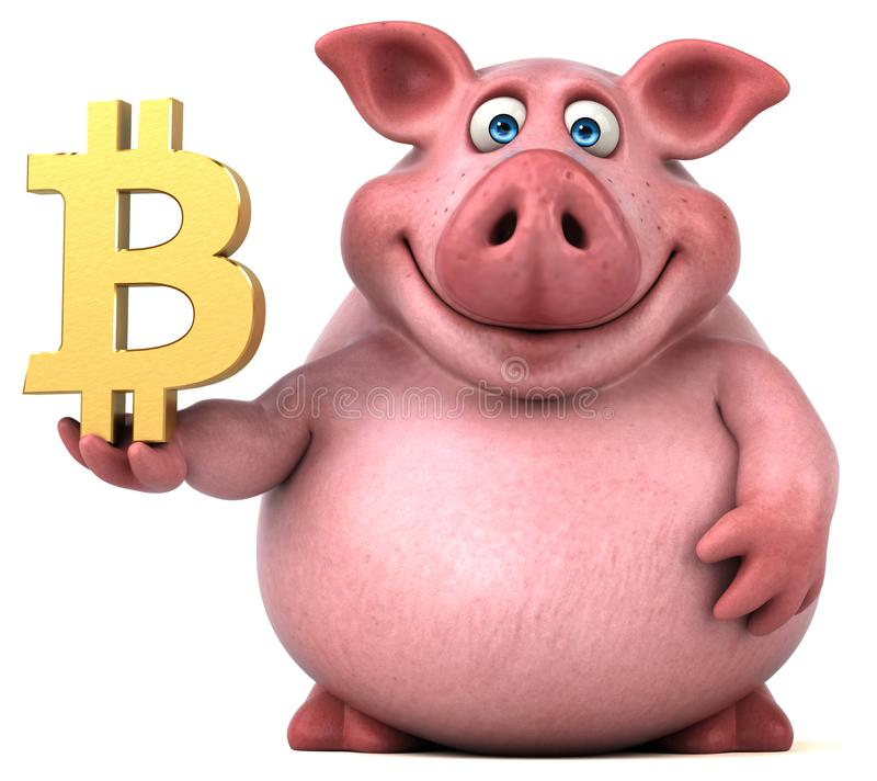 Fun pig - 3D Illustration stock illustration
