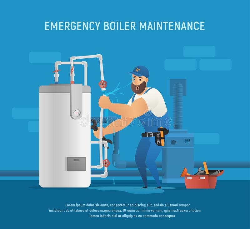 Fun Plumber Make Emergency Boiler Maintenance. vector illustration