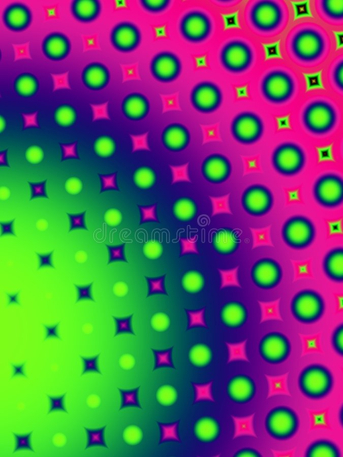 Fun Polka Dots Retro Pattern. An abstract fun polka dots party colors pattern texture background with pink, purple, green and blue colors stock illustration