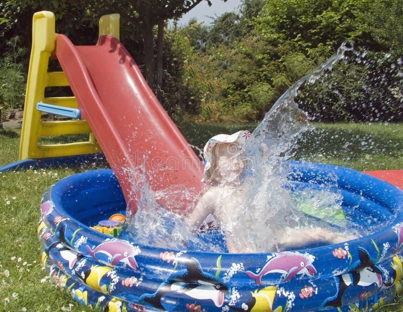 Fun with the pool stock photo