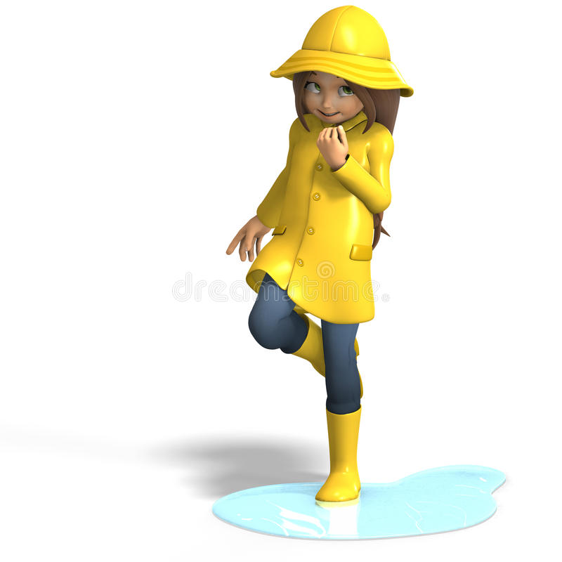 Fun in rain. Cute litte toon girl has fun in rain. with clipping path and shadow over white royalty free illustration
