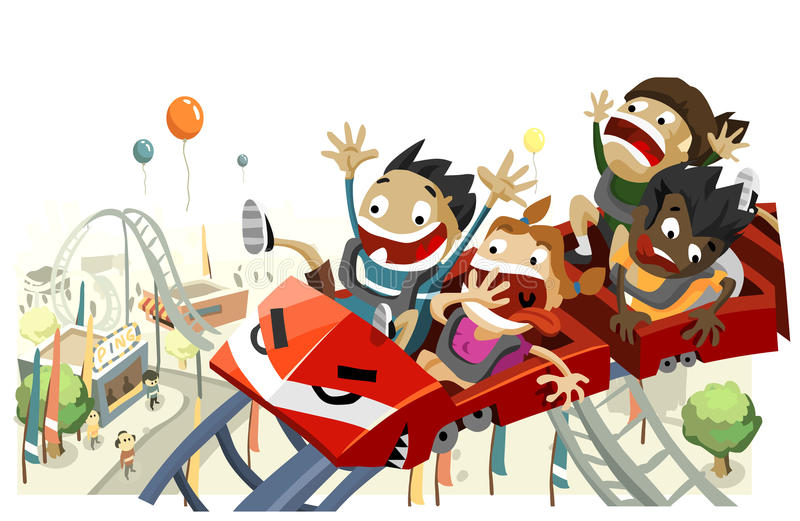 Fun with Roller Coaster. Copy space on top, very detailed illustration stock illustration