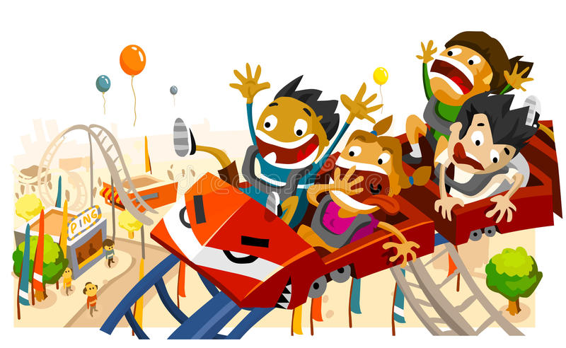 Fun with Roller Coaster. White copy space on top, very detailed illustration stock illustration