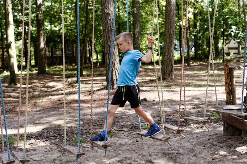Fun in the rope park royalty free stock photography