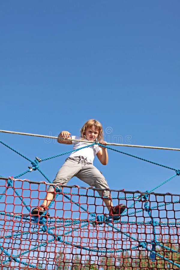 Fun on the ropes stock photography