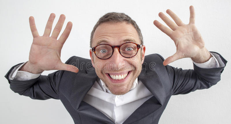 Fun 40s manager holding his hands for saying irresponsible royalty free stock images