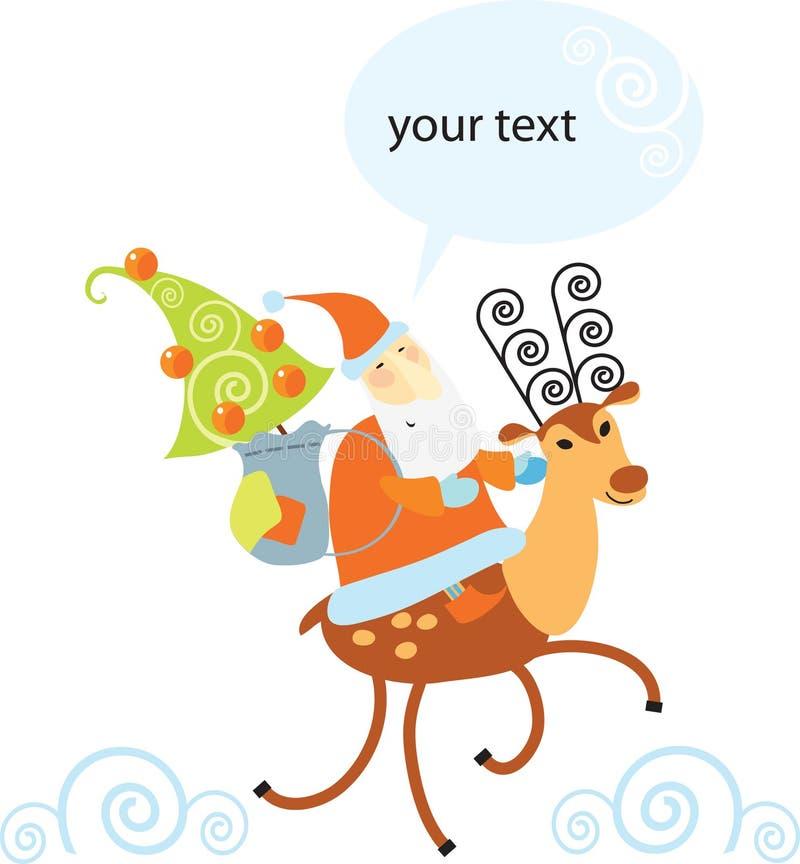 Fun Santa Claus Riding A Reindeer Stock Photography