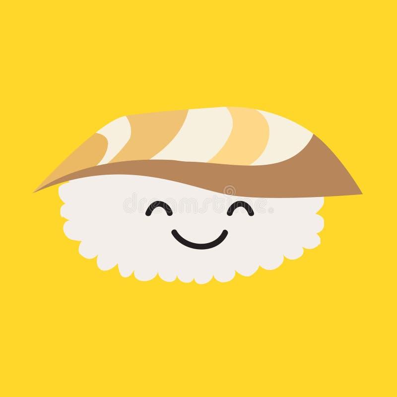 Fun sashimi vector cartoon character. Cute sashimi with tuna. Japanese food stock illustration