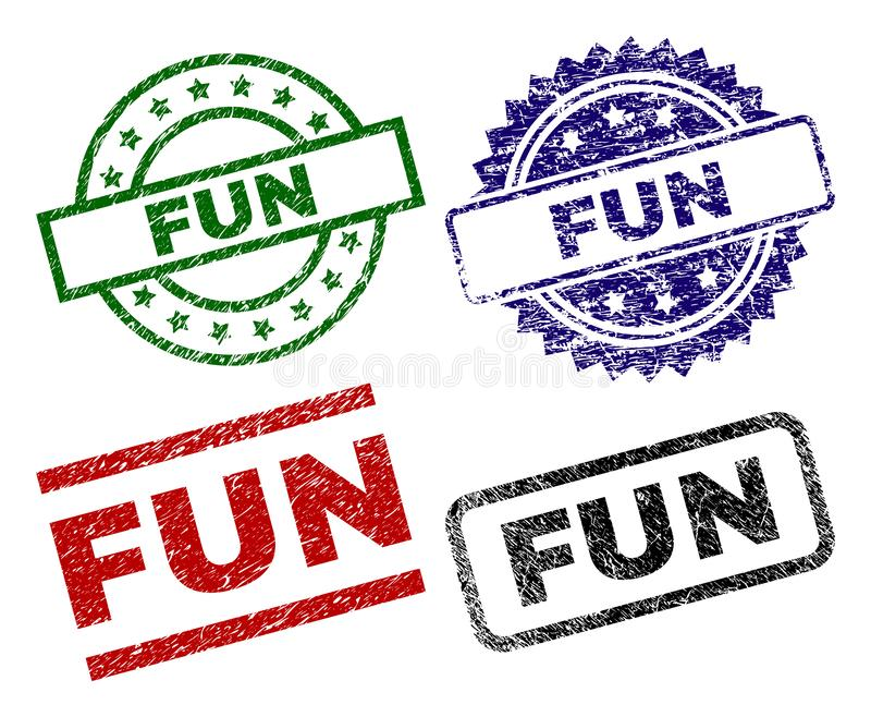 Scratched Textured FUN Stamp Seals. FUN seal stamps with distress texture. Black, green,red,blue vector rubber prints of FUN label with scratched texture. Rubber stock illustration
