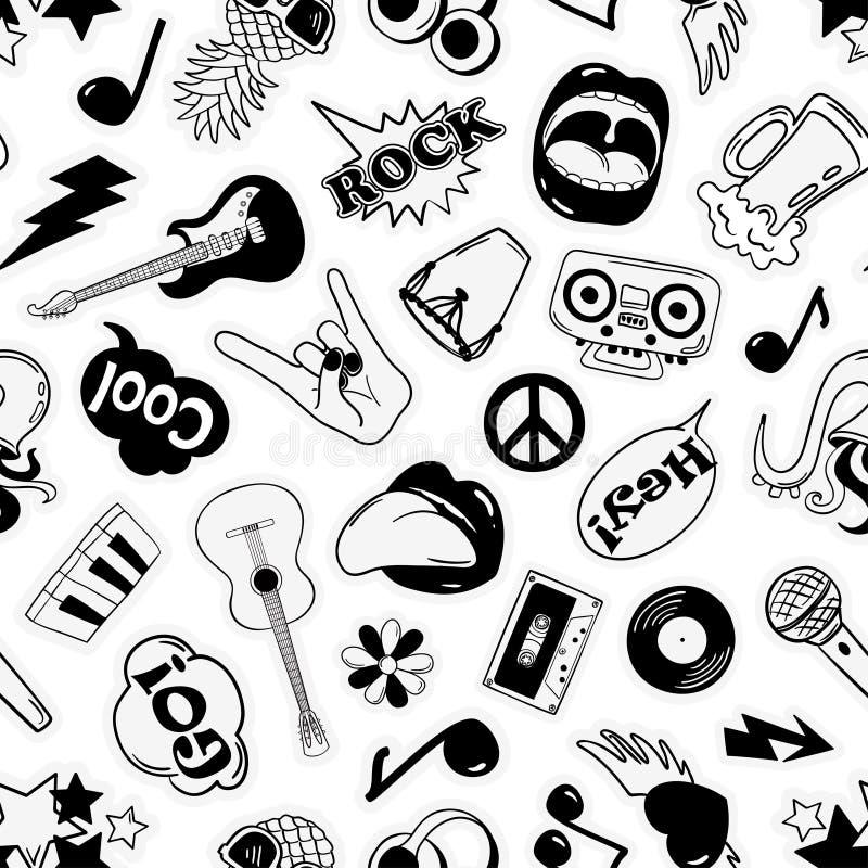 Fun Seamless Pattern Of Cartoon Musical Stickers Stock Vector
