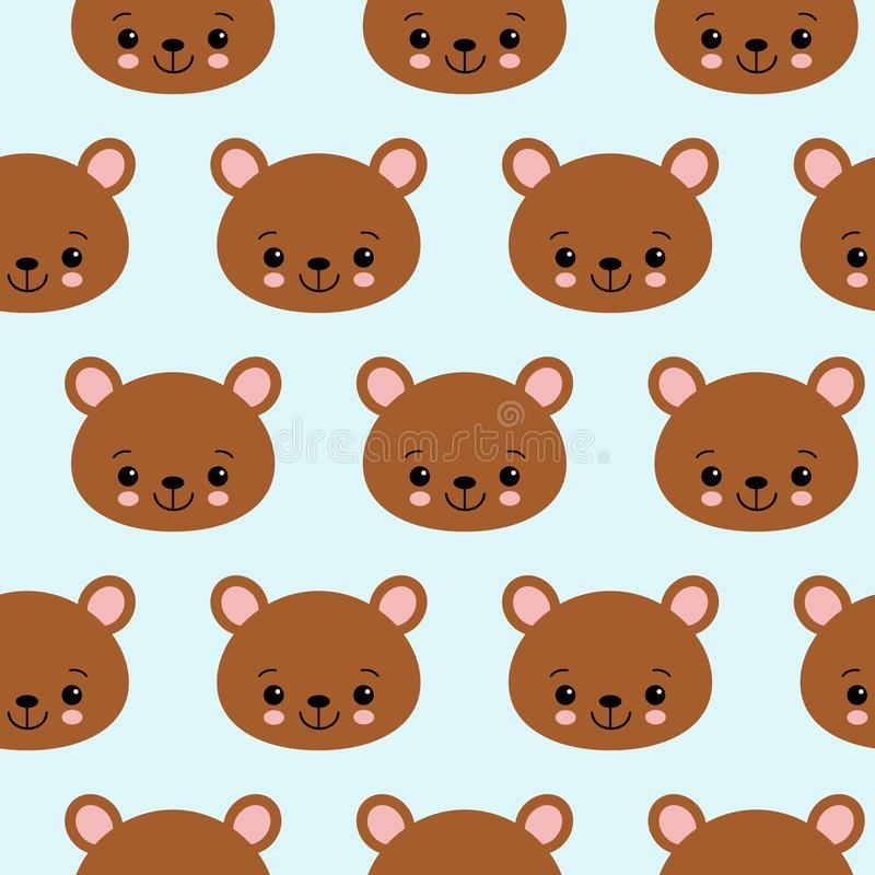 Fun seamless pattern texture design bears for child themes vector image.  royalty free illustration