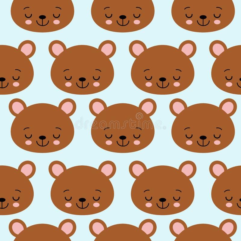 Fun seamless pattern texture design sleeping bears for child themes vector image.  vector illustration