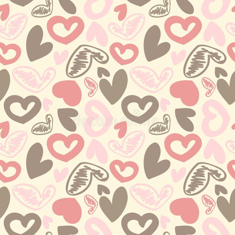 Fun seamless vintage love heart background in. Fun seamless vintage love heart background in pretty colors stock illustration