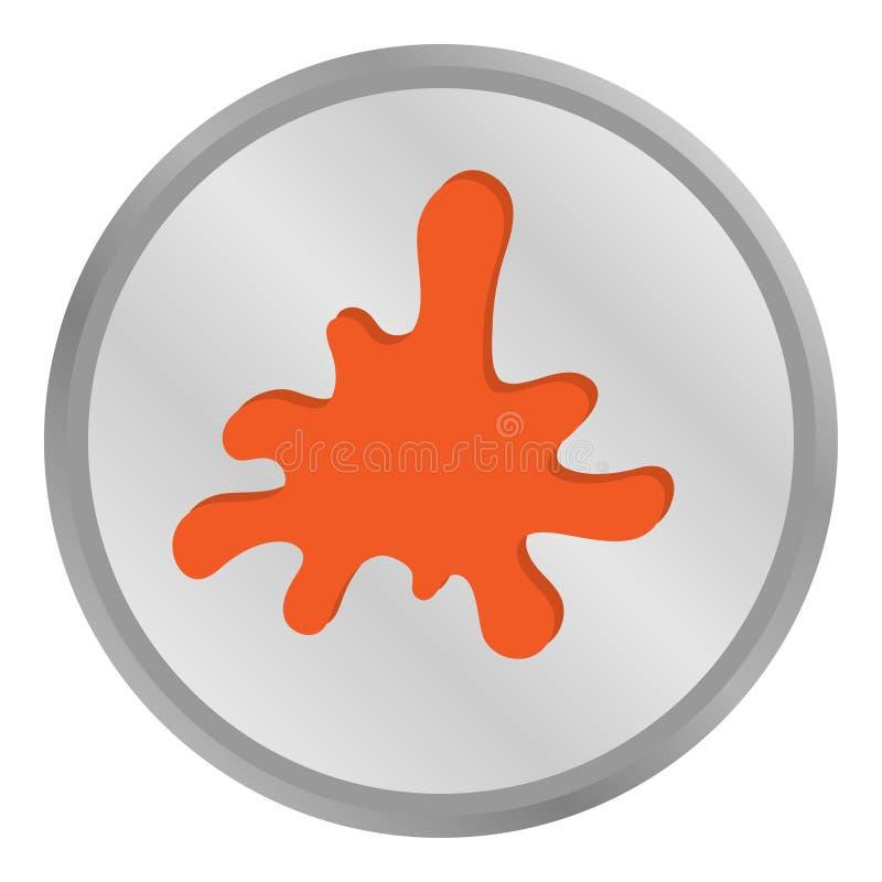 Fun sign orange blotter in metal circle. Sign orange blotter in metal circle art design drop illustration ink paint shape splash splat spot spray stain vector illustration