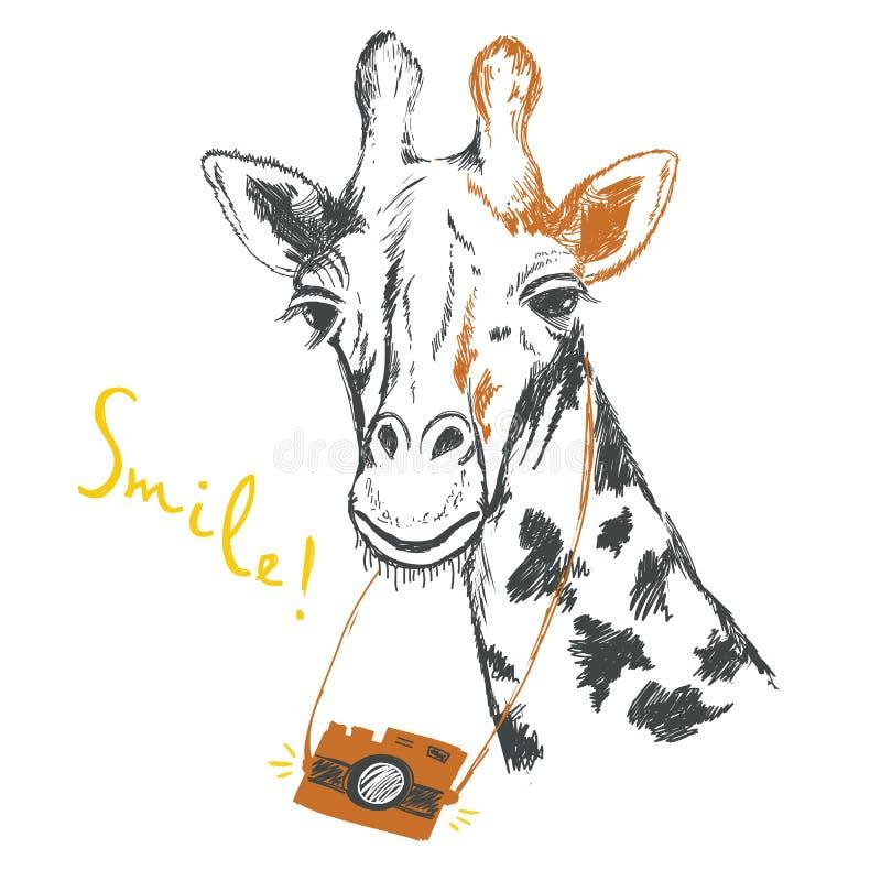 Fun sketch illustration of a giraffe photographer. royalty free illustration