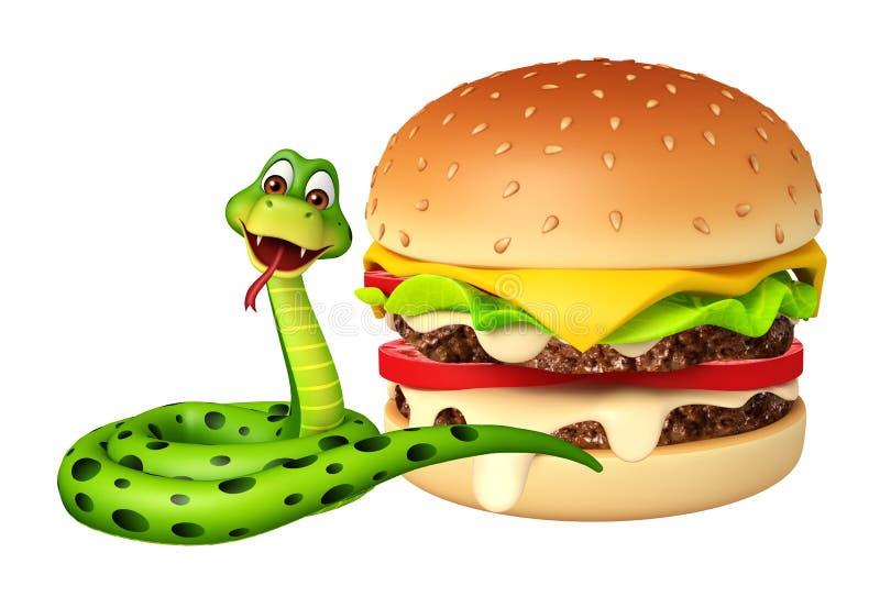 Fun Snake cartoon character with burger royalty free illustration