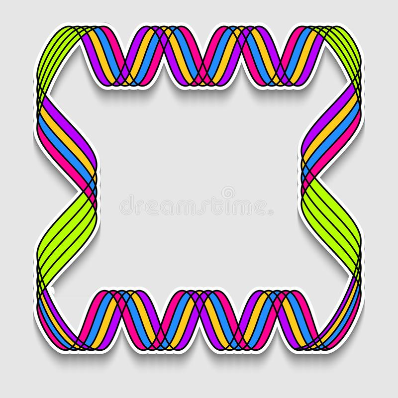 Fun square frame in form of rainbow mosaic tape. Template of web banner, sale or discount, club party flyer, big data poster, fast royalty free illustration