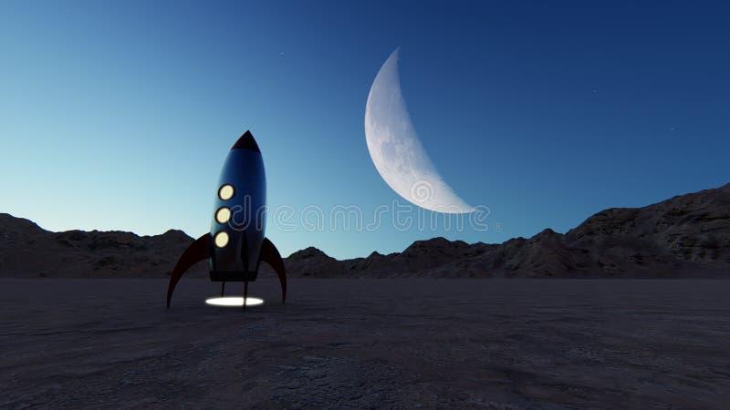 Fun stylized retro rocket on an unknown planet royalty free illustration