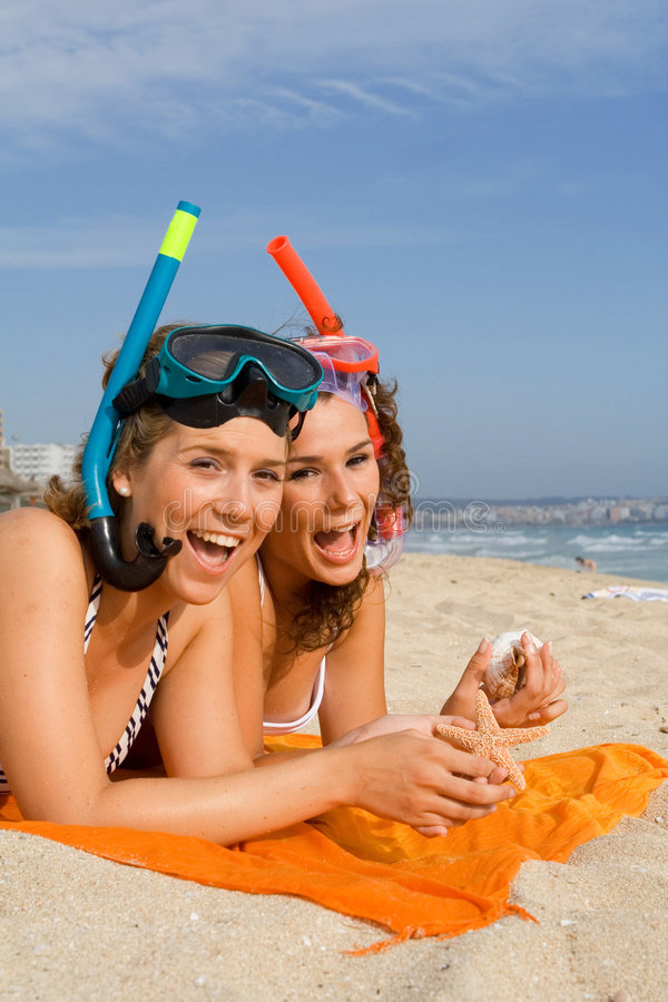 Download Fun On Summer Beach Vacation Stock Photo - Image of babes, mask: 2639818