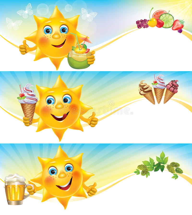 Fun sun with ice cream and cool drinks horizontal. Banners. Contains transparent objects. EPS10 stock illustration