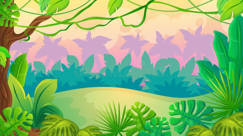 Fun Sunset Jungle Landscape royalty free illustration