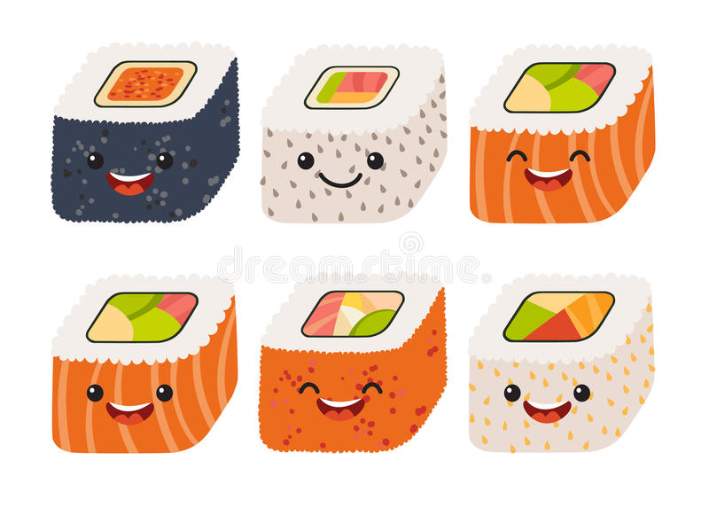 Fun sushi vector. Cute sushi with cute faces. Sushi roll set. Happy sushi characters royalty free illustration