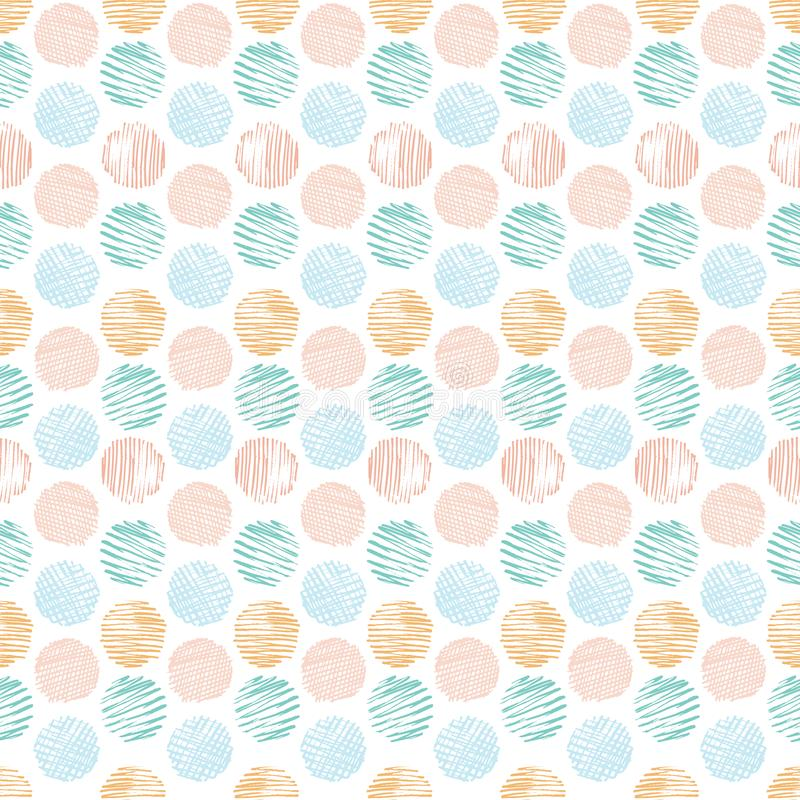 Fun textured doodle pastel polka dots seamless pattern background. Hand drawn geometric print design great for kids, stationery, vector illustration