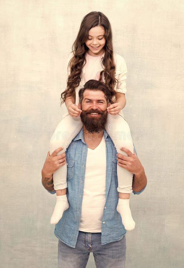 Fun time together. Child and dad best friends. Friendly relations. Fathers day concept. Happy to be father. Father and stock image