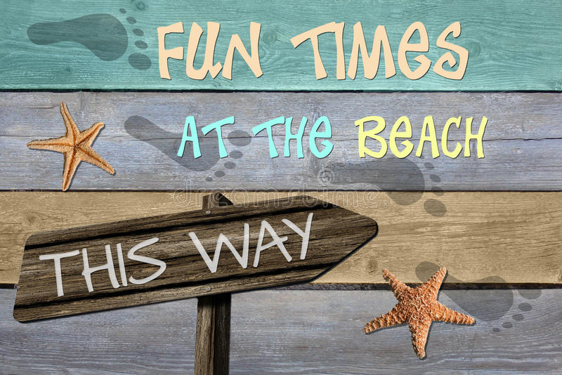 Fun times at the beach this way vector illustration