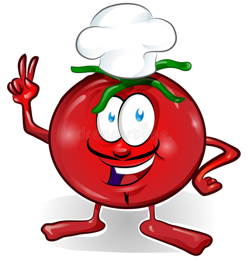 Fun tomato chef cartoon royalty free illustration