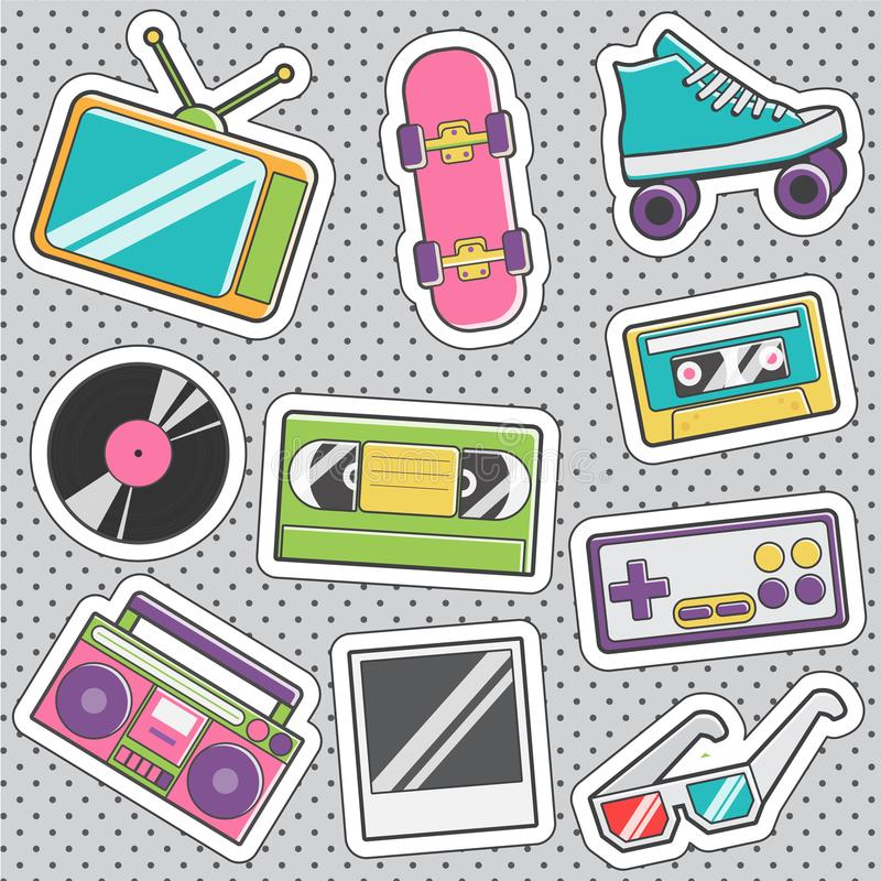 Fun trendy vintage sticker retro fashion badges vector illustration