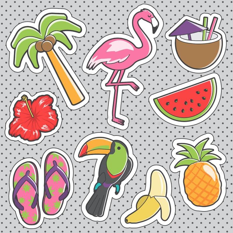 Fun trendy vintage sticker tropical fashion badges vector illustration