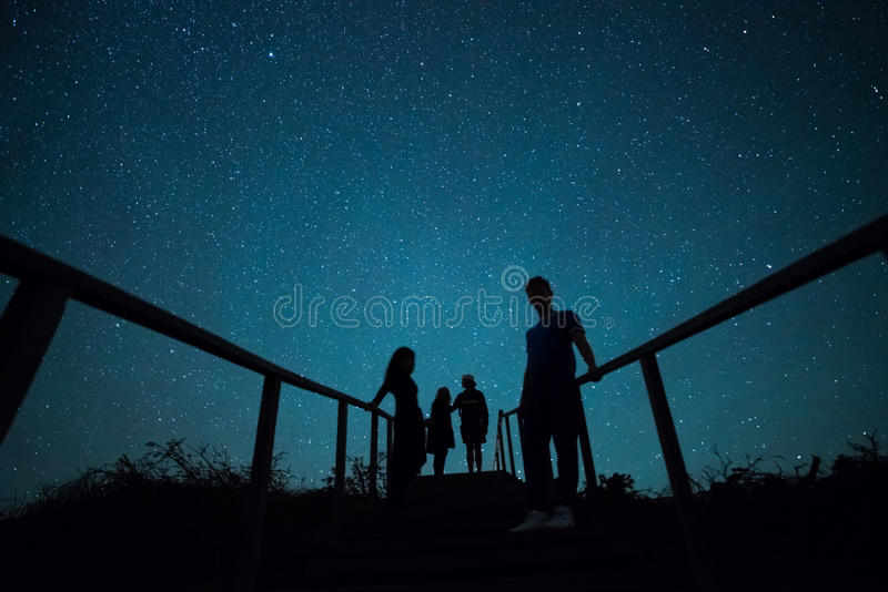 Fun under stars royalty free stock image