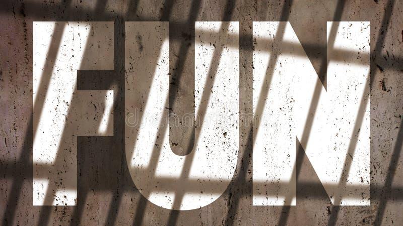 Fun On A Wall With Jail Bars Shadow. Fun Written On A Wall With Jail Bars Shadow stock photos