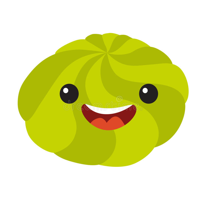 Fun wasabi vector cartoon character. Cute wasabi's faces for sushi. Happy sushi characters icon, vector illustration on white background stock illustration