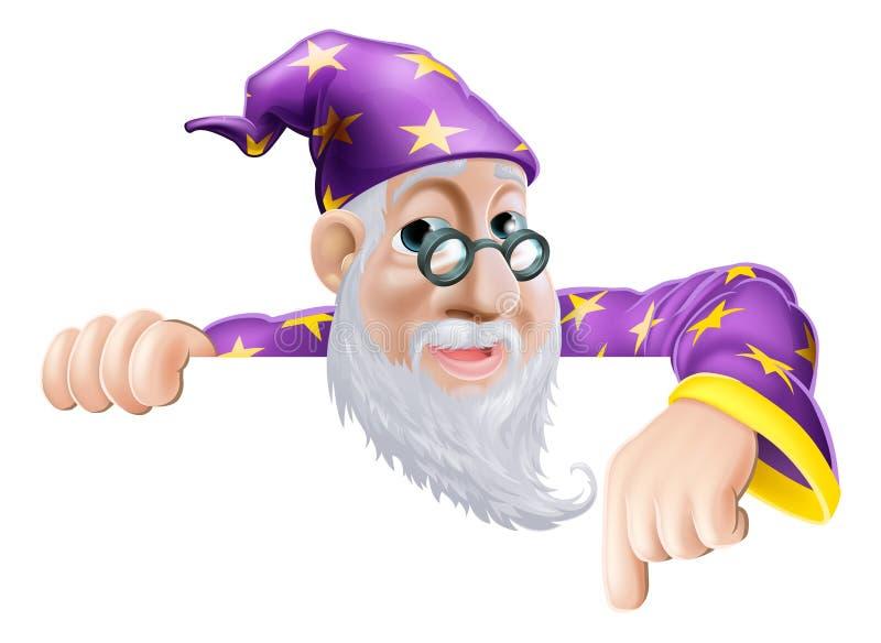 Fun Wizard Pointing Down stock illustration