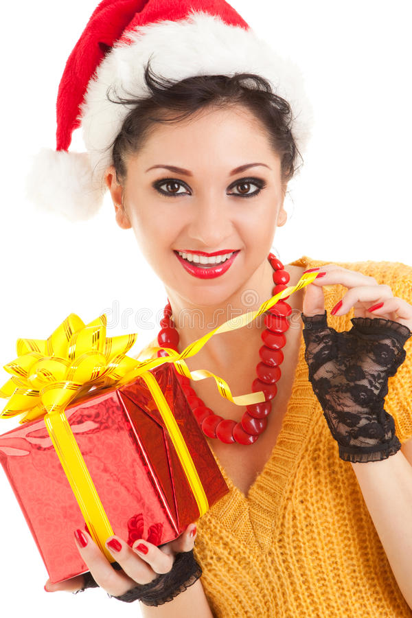 Download Fun Woman With Christmas Gift Stock Image - Image of santa, present: 12203005