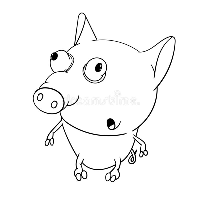 Fun zoo. Cute big-eyed little pig. Coloring book for kids royalty free illustration