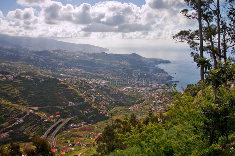 Funchal. Landscape on madeira with capital city funchal, portugal stock photo