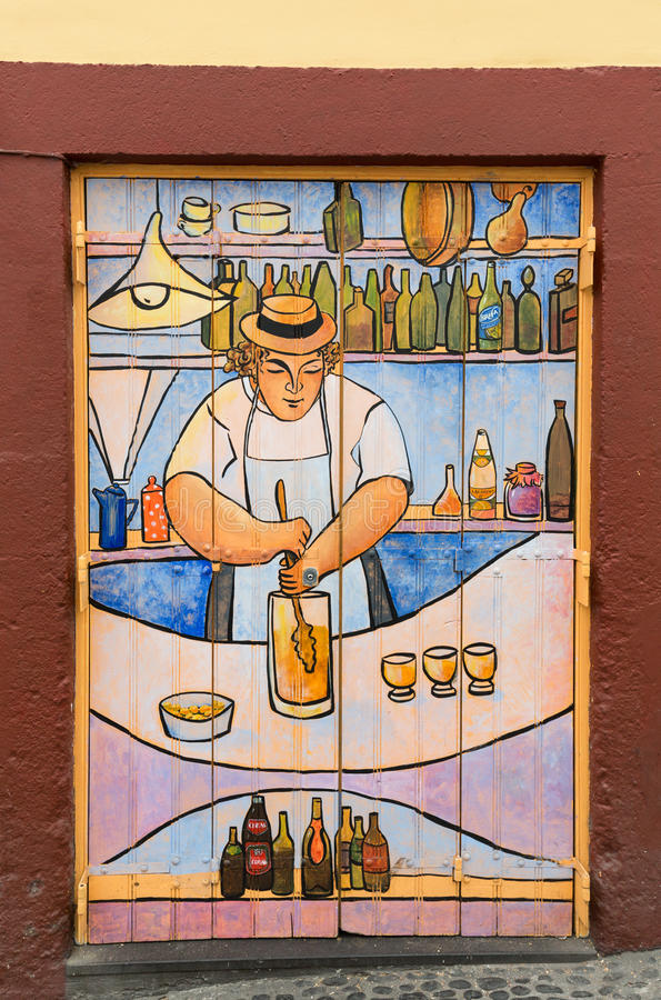 Funchal - The art of open door in the street of Santa Maria. A project which aims to `open` the city to artistic and cultural even. Ts. Madeira. Portugal stock image