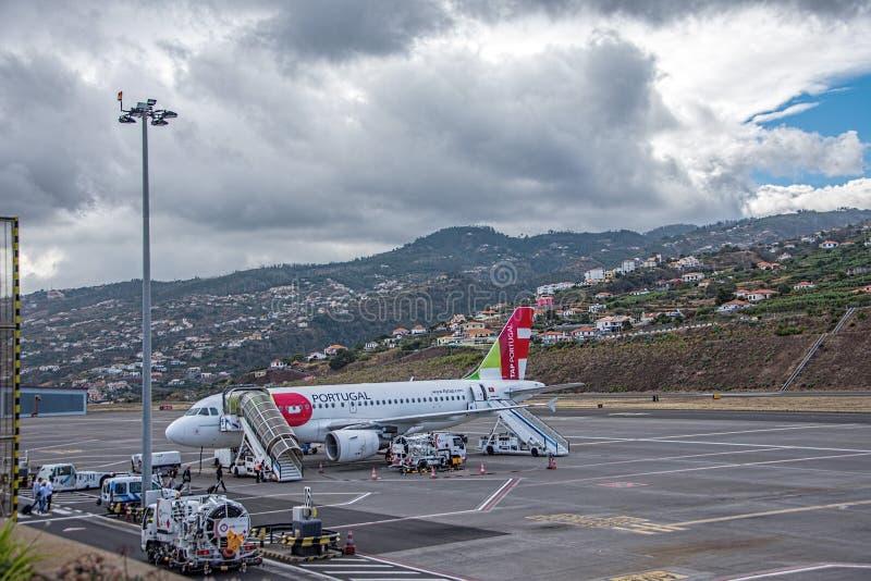 Funchal flygplatsmadeira arkivfoton