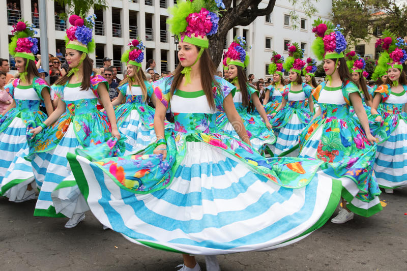 Funchal, Madeira - April 20, 2015: Young girls dancing in the Madeira Flower Festival stock photos