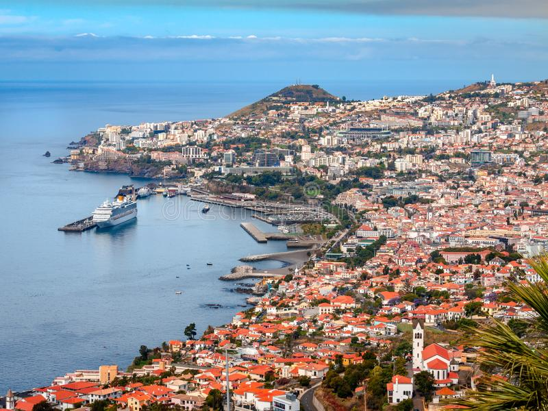 Funchal - Madeira. A beautiful view over Funchal towards a cruise ship in Madeira Island royalty free stock photography
