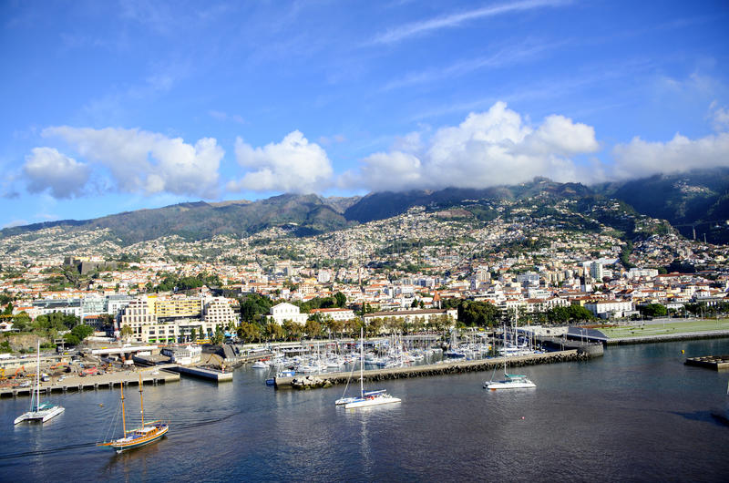 Funchal Madeira. The harbor and town of Funchal Madeira stock images