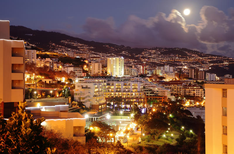 Funchal (Madeira) at night. City of Funchal (capital of Madeira Island) at night royalty free stock photography